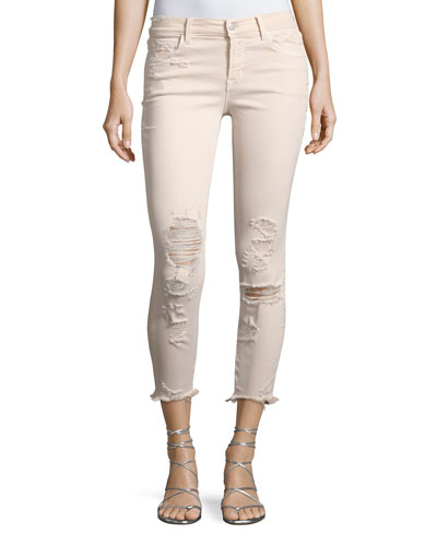 825 Mid-Rise Distressed Capri Skinny Jeans, Debutante