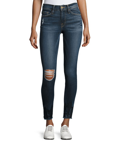 Le Skinny de Jeanne Crop Raw-Edge Jeans, Faded Thorpe