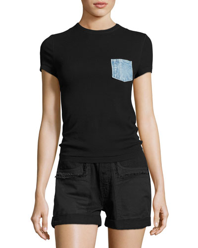 Denim-Pocket Cotton Jersey Tee, Black