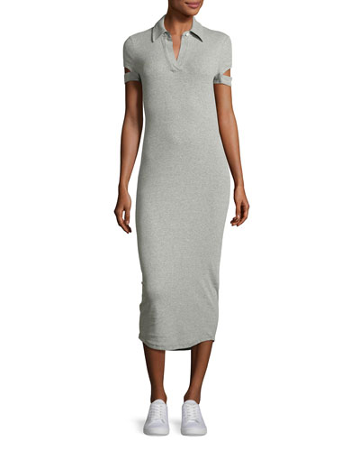 Slit-Cuff Heathered Jersey Midi Dress, Gray
