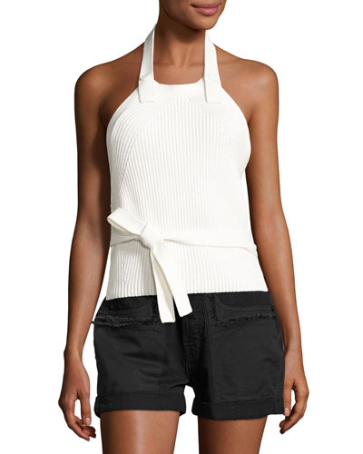 Ribbed Button-Back Halter Top, White