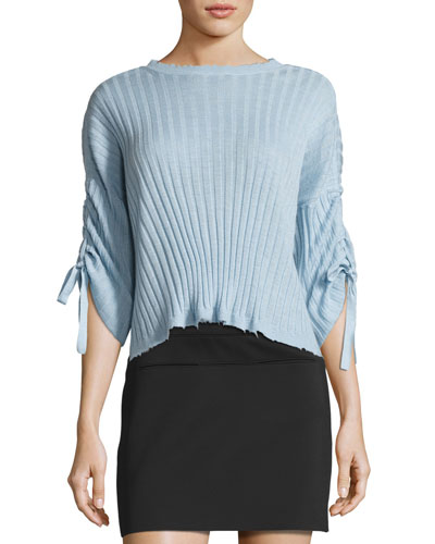 Ribbed Cropped Cashmere Sweater, Light Blue