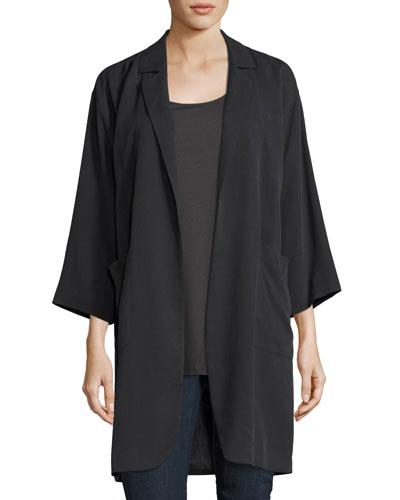 Woven Tencel® Grain Long Jacket
