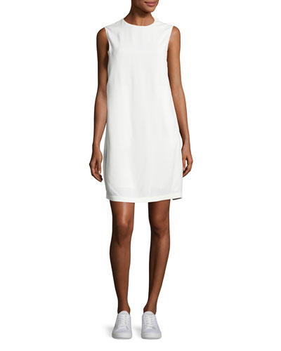 Sleeveless Crepe Apron-Front Shift Dress, Off White