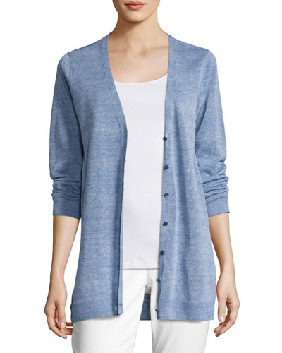 Painted Fine Linen Crepe Cardigan, Catalina