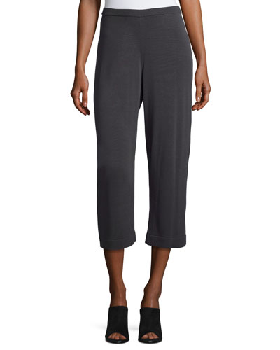 Sleek Tencel® Wide-Leg Cropped Pants, Graphite