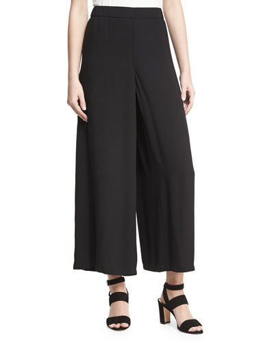 Drama Silk Georgette Wide-Leg Pants