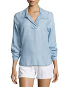 Tie-Back Collared Denim Blouse, Rowan