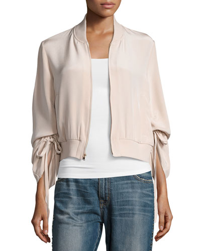 Silk Sculpted Bomber Jacket, Beige