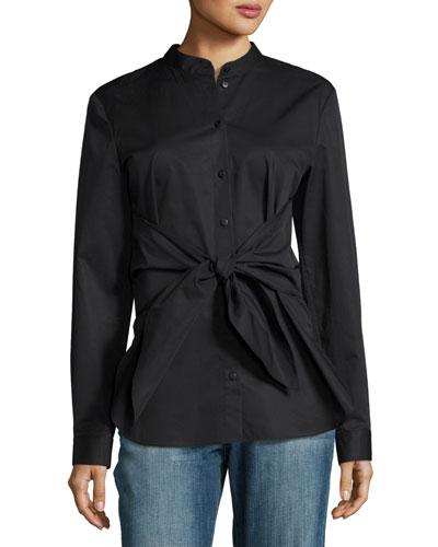 Satin Poplin Tie-Front Shirt, Black