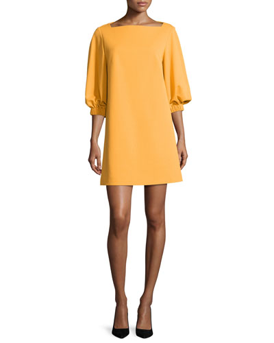 Crepe Boat-Neck 3/4-Sleeve Shift Dress, Orange