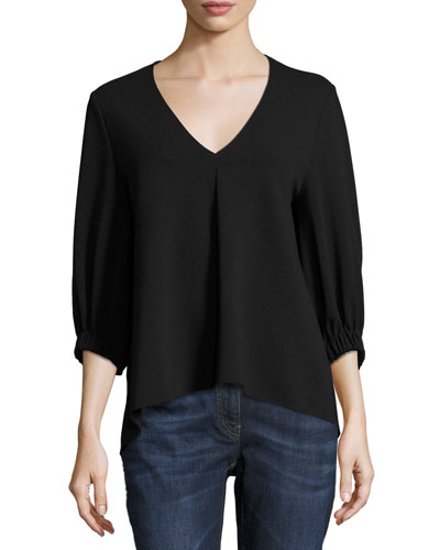 Crepe V-Neck Trapeze Top, Black