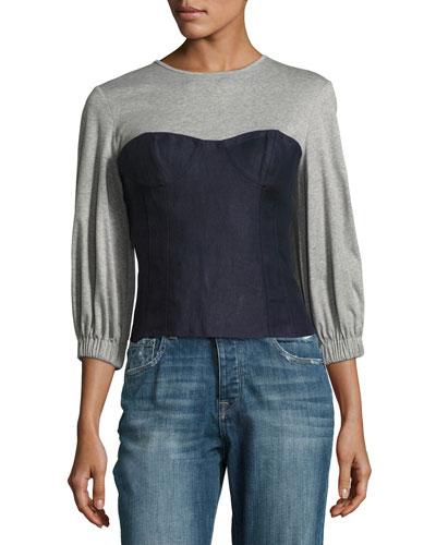 Hessian Linen Bustier Combo Top, Navy/Gray