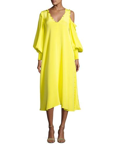 Edwardian V-Neck Frill-Trim Silk Midi Dress, Yellow