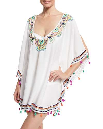 Paisley Embroidered Caftan Coverup, White/Multicolor