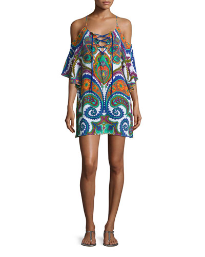Pacific Paisley Cold-Shoulder Lace-Up Tunic, Multicolor