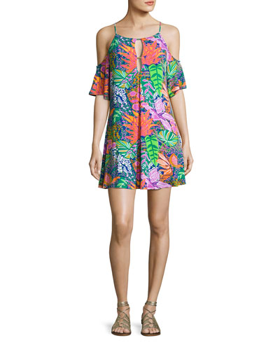 Tropic Escape Cold-Shoulder Tunic, Multicolor