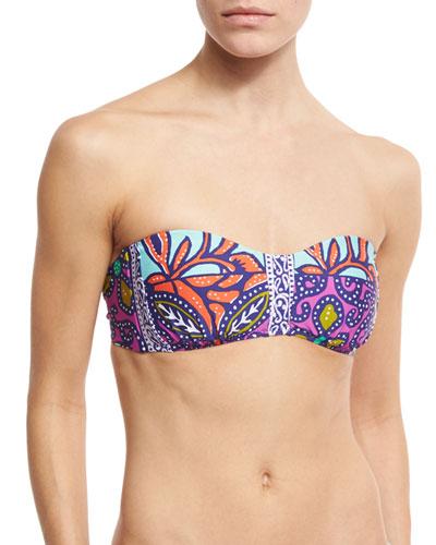 Balinese Batik Bandeau Swim Top, Multicolor