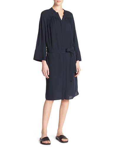 Silk Shirred Belted Shirtdress, Coastal Blue