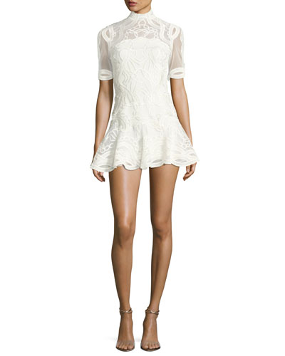 Truss Lace Appliqué Fit & Flare Mini Dress, White