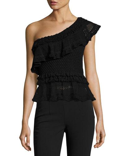 Ruffle Crochet High-Low Peplum Top, Black