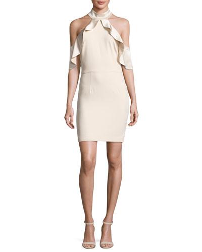 Ebony Cold-Shoulder Cocktail Dress, Champagne