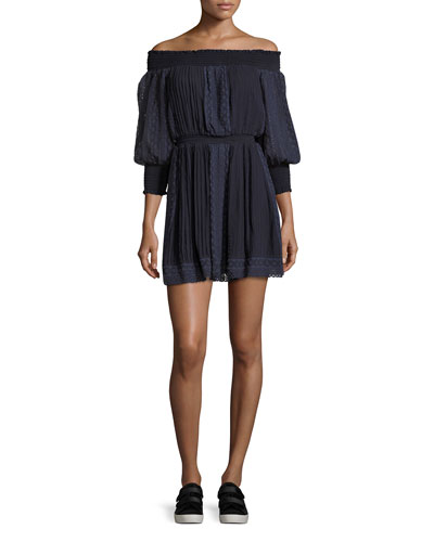 Pammy Off-the-Shoulder Lace-Trim Mini Dress, Blue