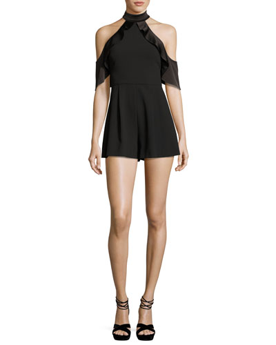 Roseline Cold-Shoulder Satin-Ruffle Romper, Black