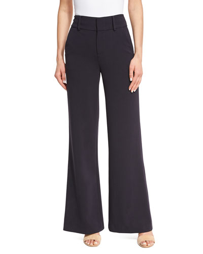 Paulette High-Waist Wide-Leg Pants, Navy
