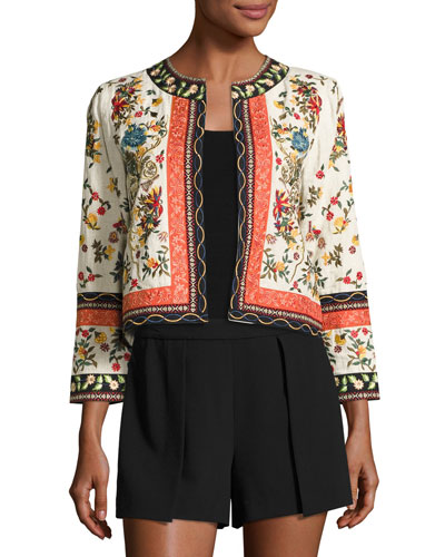 Esme Embroidered Cropped Jacket, Multicolor