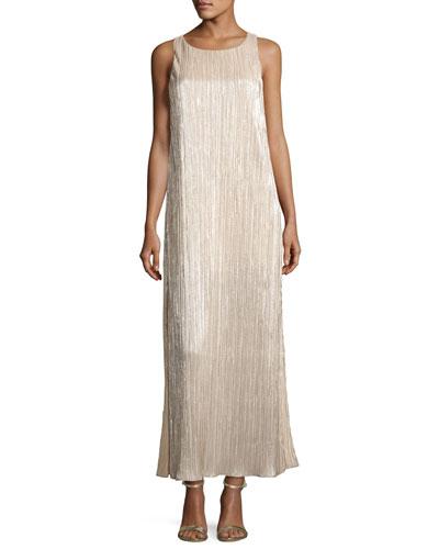 Lucia High-Slit Metallic Plissé Maxi Tank Dress, Gold