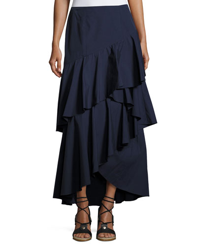 Martina Asymmetric Ruffle High-Low Maxi Skirt, Blue