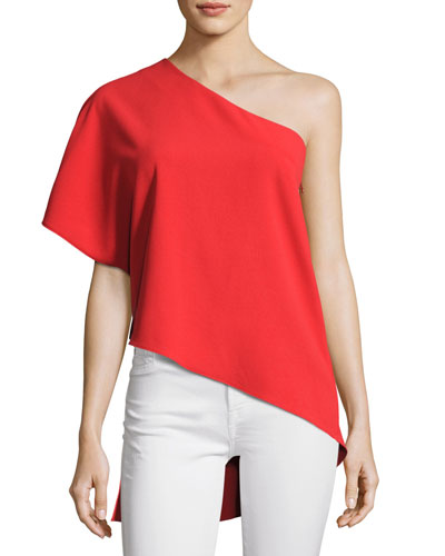 Mellie One-Shoulder Drape Top, Bright Red