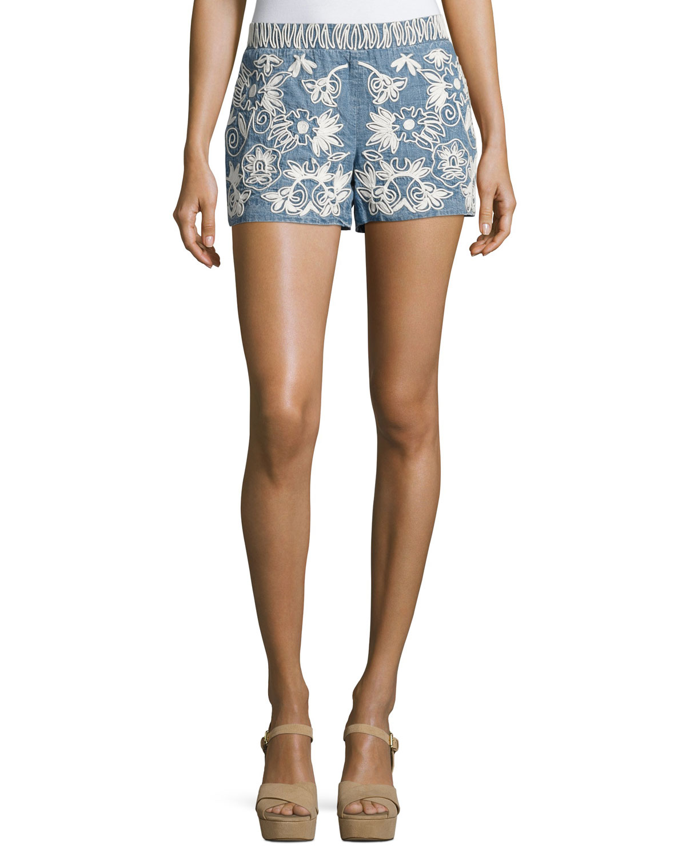 Marisa Embroidered Denim Shorts, Indigo/White