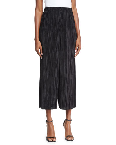 Elba Plisse Pull-On Cropped Wide-Leg Pants, Black