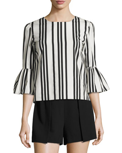 Bernice Striped Ruffle-Sleeve Top, Black/White