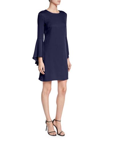 Italian Cady Bell-Sleeve Dress, Navy