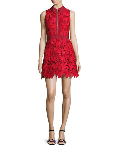 Ellis Guipure Lace Sleeveless Zip-Front Dress, Red