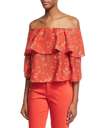 Meagan Off-the-Shoulder Double-Layer Floral Top