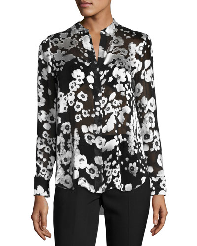 Belle Metallic Floral Mandarin-Collar Shirt, Black/Silver