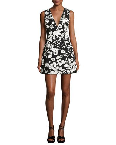 Patty Metallic Floral Lantern Dress, Black/Silver