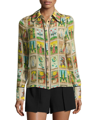 Alfie Tarot Card Shirt with Piping, Multicolor