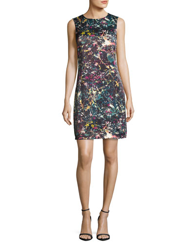 Sleeveless Abstract Floral-Print Sheath Dress