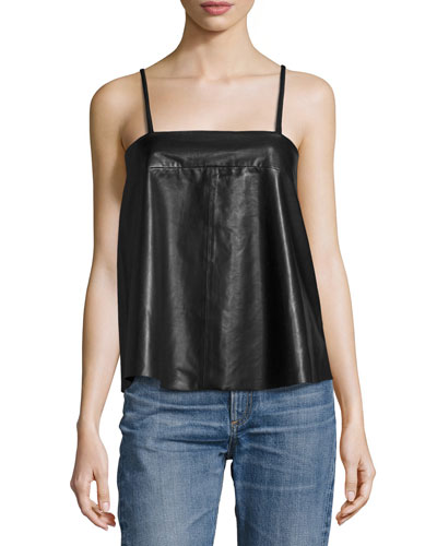 Cali Lamb Leather Sleeveless Top, Noir