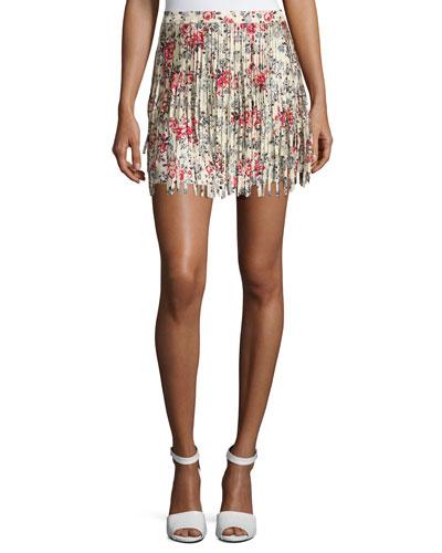Jaliz Floral Silk Fringe Miniskirt, Multicolor