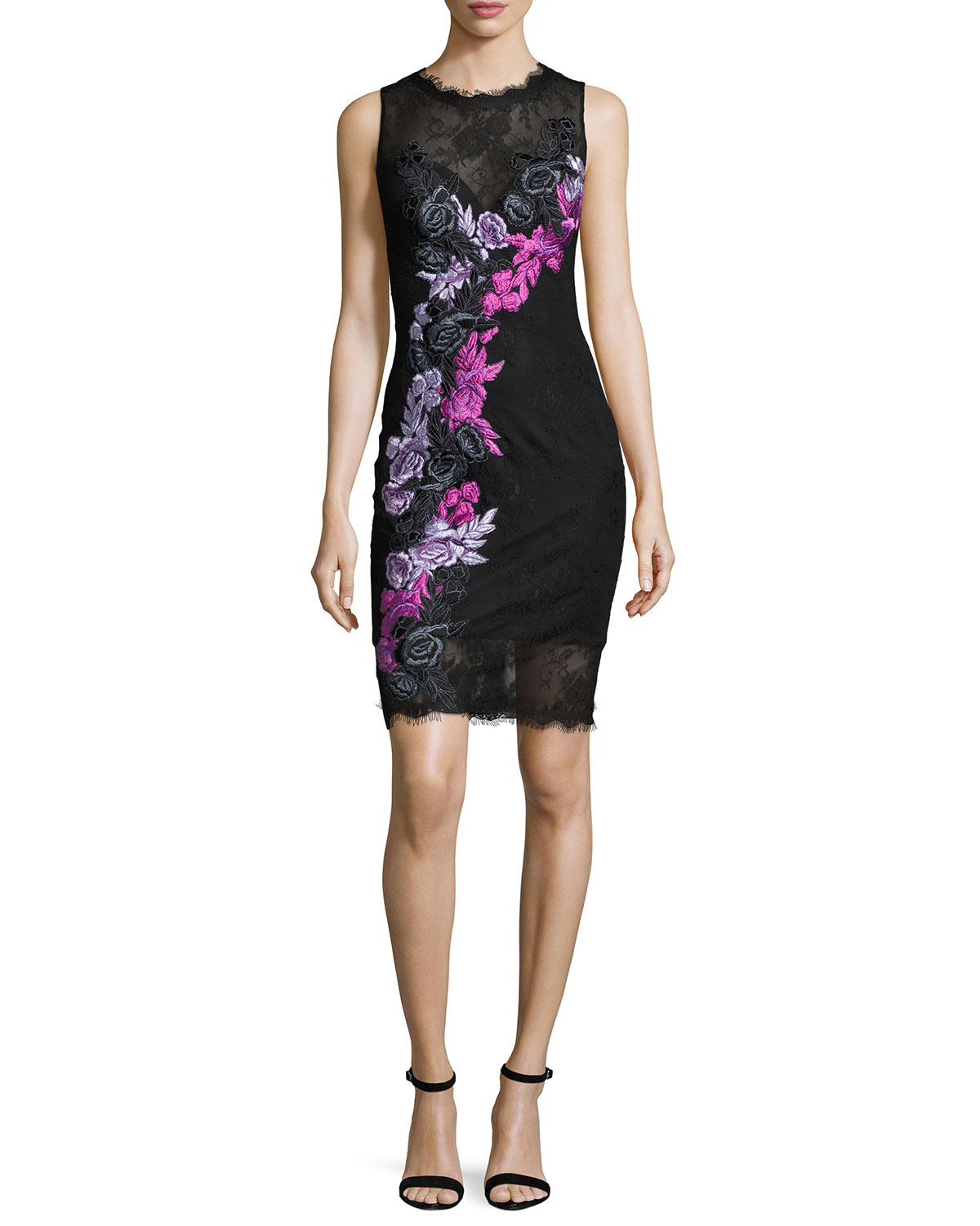 Sleeveless Floral Lace Cocktail Dress, Black