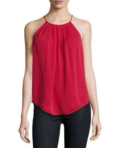 Amarey Silk Tank Top, Ruby