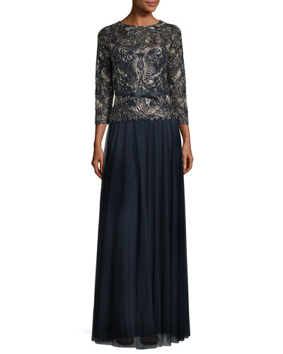 3/4-Sleeve Embroidered Tulle Gown, Navy/Gold