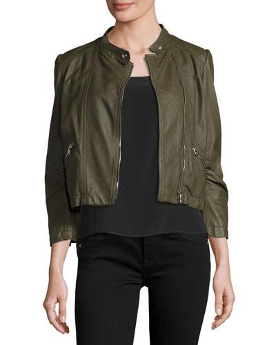 Cropped Lamb Leather Moto Jacket, Olive