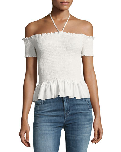 Smocked off-the-Shoulder Pop Top, White